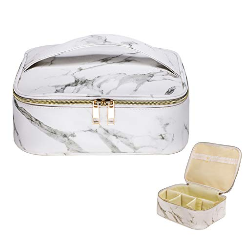 HOYOFO Marble Makeup Bag Travel Cosmetic Bags Waterproof Makeup Organizer Case Portable with Adjustable Dividers Toiletry Bags for Women, Marble White
