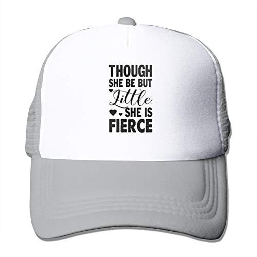 Blacaboer Shop Though She Be But Little Fierce She is Fierce Trucker Hats Classic Cotton Adjustable Baseball Plain Cap Custom Hip Hop Dad Trucker Snapback Hat Gray One Size