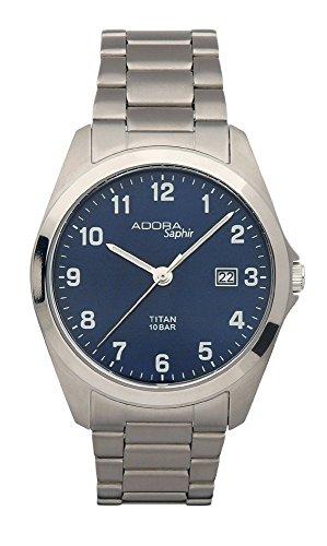 Herrenuhr Armbanduhr Analoguhr Titan mit Saphirglas Adora Saphir 28409