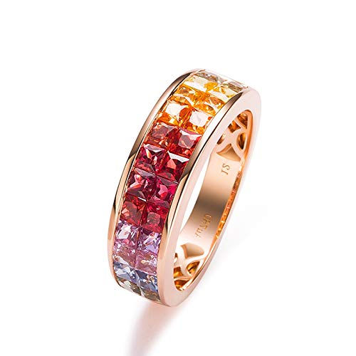 Rubyia Blue Sapphire Ring 18ct Gold 2.562ct Rainbow Sapphire Square with Colored Sapphire Inlay Size J½