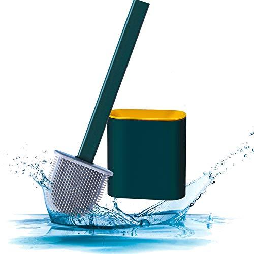 SHITOU シリコーントイレブラシとホルダーセット長いハンドルとホルダー付きトイレブラシトイレブラシとホルダーセット(バスルーム用)ケース付き TPR材質 水はね防止 通気 防菌 壁掛け式 トイレ掃除用品 36.5x9.8x4.3cm (緑)