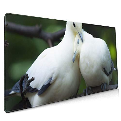 Dierlijke duif liefde vogel paar schattige muis pad niet slip rubber groot Gaming toetsenbord mat 15.8x35.5 in