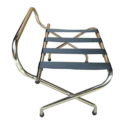 BAIYING-Luggage Rack, Stainless Steel Waterproof Put Rust Easy To Clean With Backrest Collapsible Storage Rack For Hotel Room (Color : Silver, Size : 60x46x68cm)