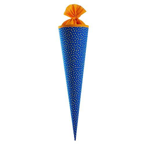 goldbuch Stoff-Schultüte mit Punktmuster, 70 cm, Blau/gelb, 97353