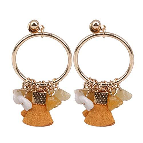 WEIHEEE geometrische Kreis Kies Ohrringe Vintage-Stil vielseitig Ohrclip Ohrringe Mode Frau Geburtstag Party Geschenk Zubehör, braune Ohrringe, 1