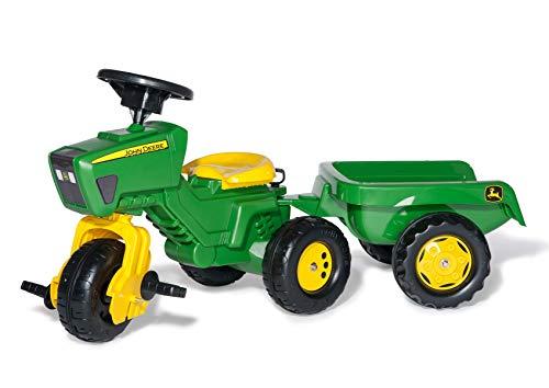 Rolly Toys rollyTrac John Deere Dreirad mit Hänger (für Kinder von 2,5 bis 5 Jahren, Soundlenkrad, Heckkupplung) 052769