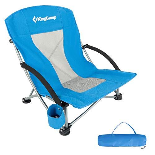 KingCamp Strand Liege Stuhl Camping Klapp Falt Sessel Niedrig Garten Stahl 136kg Royal Blue