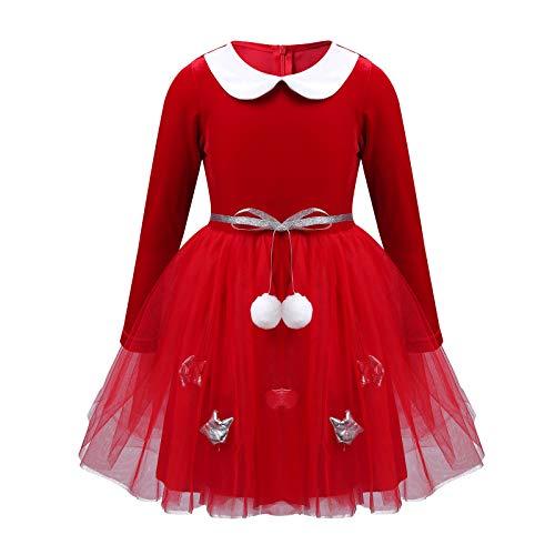CHICTRY Kinder Weihnachten Kleid Kostüm Mädchen Samt Tütü Kleid Weihnachtself Kostüm Langarm Kleid für Geburtstag Fetzug Karneval Party Rot 110-116