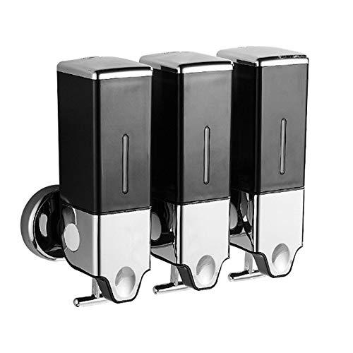 Shower Soap Dispenser Wall Mount Hand Lotion Dispenser for Bathrooms Kitchen Restaurants (Black)