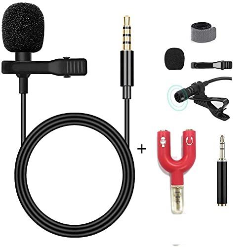 Lavalier Mikrofon, GOOKUURL Lavalier Mikrofon für Handy und PC, Ansteckmikrofon mit 1.5m Verlängerungskabel und Kondensator mit 3 Transformation, Perfekt für K Lied, Interview, Vlog, Podcast usw.