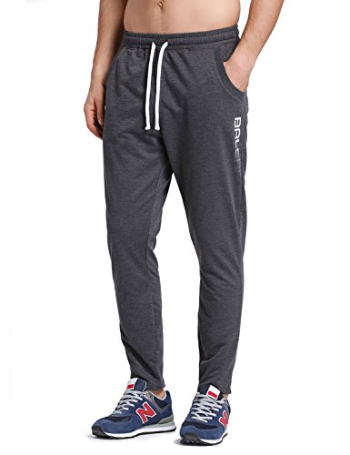 BALEAF Men's Tapered Athletic Running Pants Sports Joggers Lounge Workout Sweatpants with Pockets Dark Gray Size S