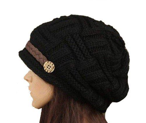 Hecho a mano negro algodón botón Lady Fashion ganchillo sombreros de las mujeres invierno cálido gorro de lana de punto Crochet Cálido Gorro