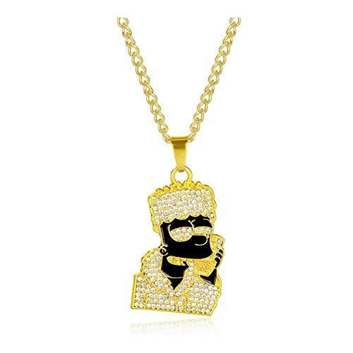 AdorabFruit Présent Pendentif Collar del Esmalte Cabeza Colgante de Dibujos Animados Collares Hombres de Las Mujeres de Plata Larga Cadena del Oro (Metal Color : Gold)