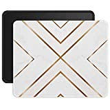 ITNRSIIET Mouse Pads [2-Pack] with Stitched Edges, Premium-Textured Mouse Mat Pad for Women, Non-Slip Rubber Base Mousepad for Laptop, Computer, 10.2×8.3×0.12 inches, Modern Gold Cross Line + Black