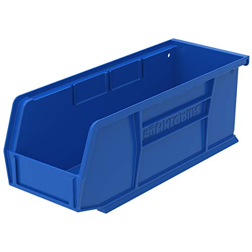 Akro-Mils 30224 Plastic Storage Stacking Hanging Akro Bin, 11-Inch by 4-Inch by 4-Inch, Blue, Case of 12