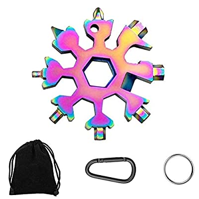 19-in-1 Snowflake Multi-Tool,Stainless Steel Snowflake Standard Multitool,Compact Portable Snowboarding Screwdriver with Key Ring for Bottle Opener/Outdoor Camping/Keychain, Great Christmas (Colorful)
