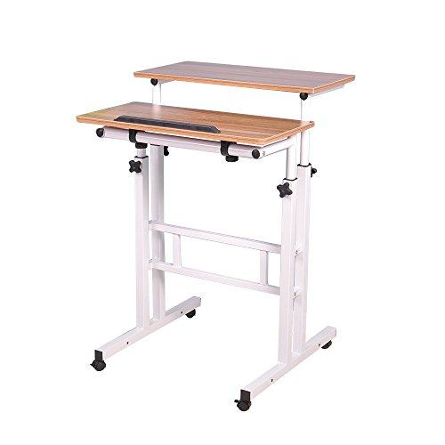 DlandHome Sit-Stand Tischwagen Mobile Höhenverstellbare Sitzfläche zum Stehpult Stehtisch Stehtisch Arbeitsplatz Mobile Schreibtisch, Eiche