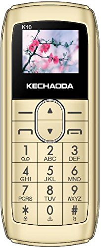 Kechaoda K10 Finger Sized Sim Keypad Mini World Smallest Dual Sim Phone with Bluetooth, 0.66 Inch Display, 300mah Battery, Bluetooth Dialler, Wireless FM (Golden)