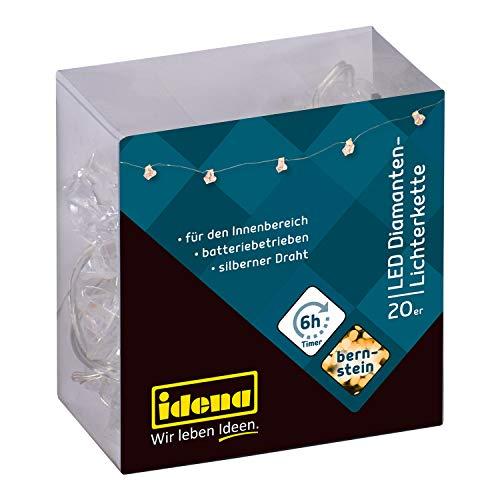 Idena 31853 - LED Lichterkette mit 20 LED, in Diamantenform, bernstein, mit 6 Stunden Timer Funktion, batteriebetrieben, ca. 2,2 m lang, zum Basteln und Dekorieren, für Partys und Hochzeit
