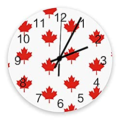 12 Inch Silent Round Wooden Wall Clock Red Maple Leaves Wall Clock, Non Ticking Battery Operated Quartz Home Decor Wall Clocks for Living Room/Kitchen/Office 12 x 12