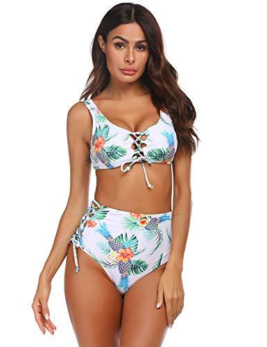 Avidlove Bikini Damen Set Badeanzug Strandbikini Bandeau Strandmode Monokini Blumendruck Bademode Zweiteilige Neckholder Rückenfrei Schwimmen Schwimmanzug Weiß L