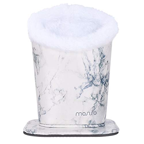 MOSISO Eyeglasses Holder, Plush Lined PU Leather Pattern Stand Case with Magnetic Base, White Marble