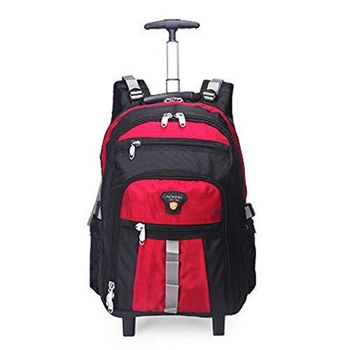 QWERASD 35L Super Lightweight Business Travel Backpack 2 Wheeled Rolling Laptop Computer Backpack Trolley Backpack Suitcase Hand Black,Orange,Red,Large