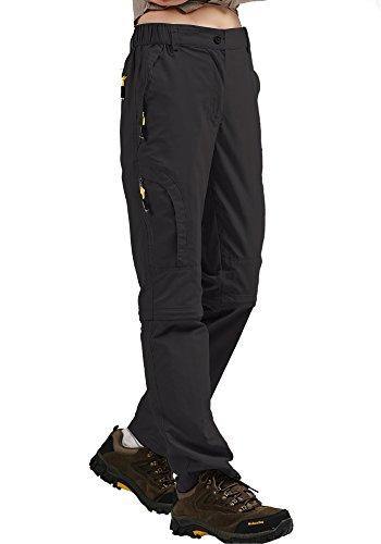 mosingle Pantalones de senderismo para mujer, ligeros, de secado rápido, elásticos, para exteriores, UPF 50, Angel Safari, Cargo, Capri, bolsillos con cremallera #6601F Black-27