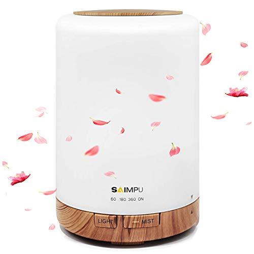 Aroma Diffuser, 300ML Leiser Ultraschall Luftbefeuchter DuftöL Diffuser, Wasserlose Abschaltautomatik, mit 7 Farben LED, BPA-Free Aromatherapie Düfte Humidifier für Raum,Büro,Yoga,Spa,usw… (weiß)