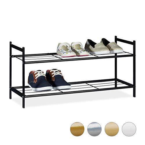 Relaxdays Schuhregal Sandra, 2 Ebenen, für 6 Paar Schuhe, Metall, Schuhablage, HBT: ca. 33,5 x 69,5 x 26 cm, schwarz