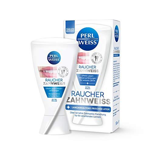 PERLWEISS™ RAUCHER ZAHNWEISS Zahncreme | Effektiv gegen Nikotinverfärbungen | Langanhaltend frischer Atem | Für die tägliche Anwendung geeignet | Teeth Whitening (50 ml)