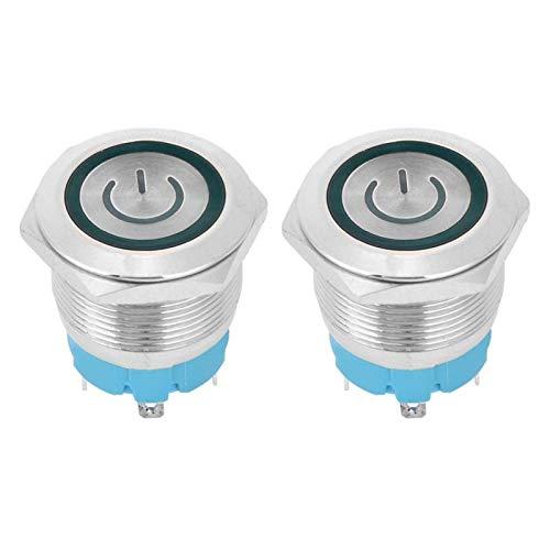 Interruptor de botón de acero inoxidable de 22 mm, interruptor de botón de cabeza plana, 4 pines IP65 para control de circuito, interruptor de botón de reinicio(green)
