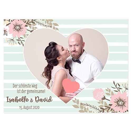 Herz & Heim® Hochzeitsbanner Herz zum Ausschneiden für Hochzeitsspiel mit Namen und Datum - Motivauswahl Fotoherz der schönste Weg