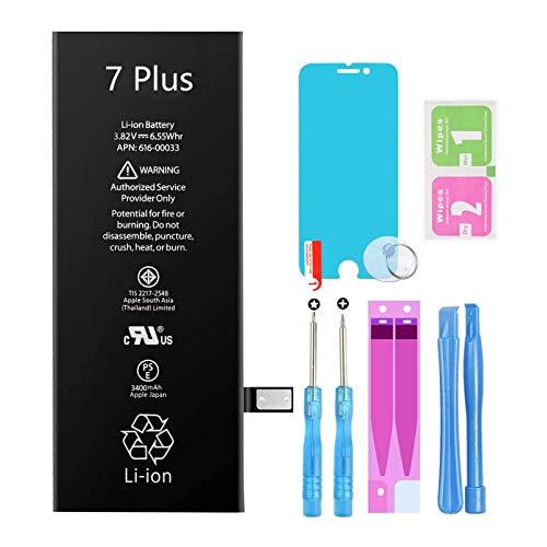 GLOBAL GOLDEN Batería para iPhone 7 Plus 3400mAh de Alta Capacidad Batería y con Kits de Herramientas de reparación, Cinta Adhesiva, Protector de Pantalla