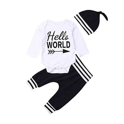 Hello World Baby Baumwolle Langarm Strampler Blumenmuster Leggings Lange Hosen Stirnband Hut Neugeborenes Kleidung (0-3 Monate, 3 Stück Dunkelblau)