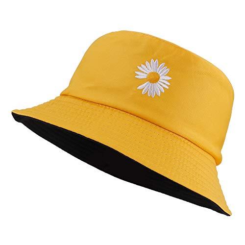 Opopark Unisex Gorro de Pescador Sombrero de Pescador Sombrero Bordado de Flores Sombrero de Sol de Doble Cara