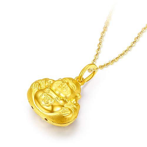 DXMPZB Oro Amarillo de 24K Colgante Mujer Oro Buda Moda Collar Joyería Incluir Cadena con Caja de Regalo