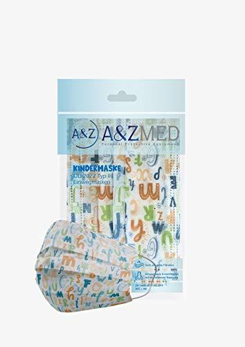 A&Z MED Kindermasken 10er Pack, Einweg Mund- Nasenschutz CE (Buchstaben)