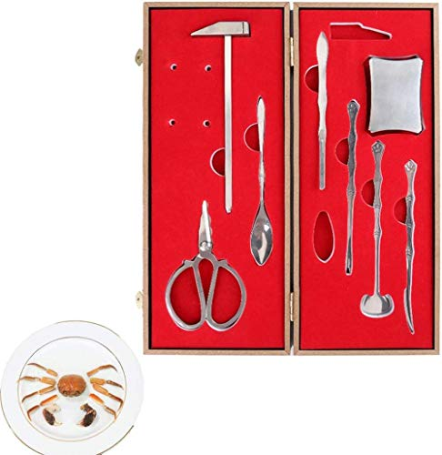 Crab Tool Set 8pcs, Professional Stainless Steel Seafood Corkscrew Tool Set Lobster Crab Biscuit Tool, with Storage Box