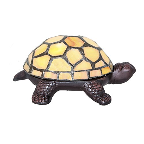 "2.5"" Stained Glass LED Cordless Turtle Accent Lamp - Yellow"