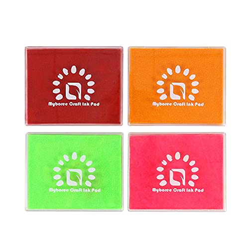 Myboree Craft Washable Square Large Ink Pads Stamps for Kids DIY Projects Scrapbooking Stamping 4 Colors Set