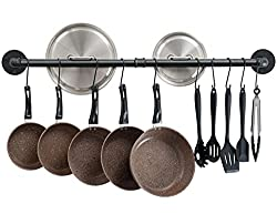 pot bar rack with pots and pans