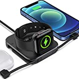Tinetton Portable Charger Stand for Apple Watch Charger, Magnetic Wireless Watch Charging Stand Dock with Charging Cable Compatible with Apple Watch SE/6/5/4 iPhone 12/11/8/Pro/Max Airpods/pro/1/2
