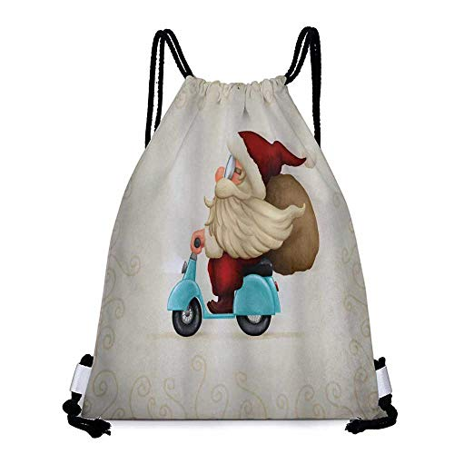 Santa on Motorcycle Portable drawstring backpack Christmas PaleBlue Red Tan For the gym W13.8 x L17.7 Inch