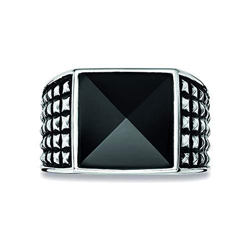 caï men Herren Ring Royal Punk 925 Silber rhodiniert schwarz coloriert Onyx schwarz 64 (20.4) - C4181R/90/13/64