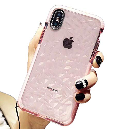 LLZ.COQUE for iPhone X Case iPhone XS Clear Case Cute Thin Slim Transparent Silicone Shockproof Bumper Diamante Prism Gel Cover Case for iPhone X/XS