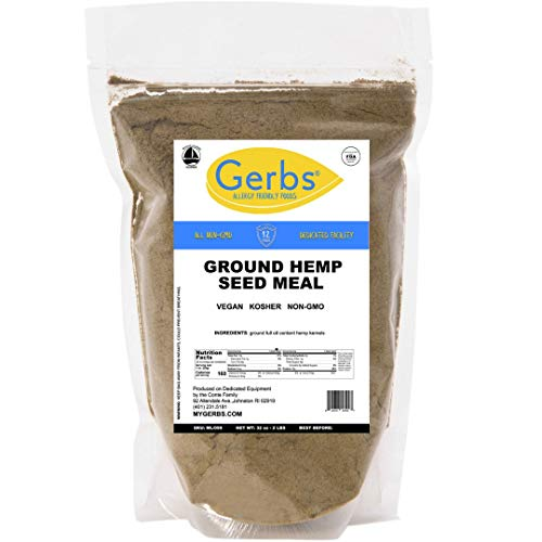 Gerbs Ground Hemp Seed Meal, 2 LBS - Top 14 Food Allergy Free & NON GMO - Vegan, Keto, Kosher – Cold Milled Full Oil Seed Protein Powder