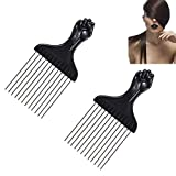 Afro Hair Peine Insertar Pelo Cepillo Rizado Tenedor Peine Plástico Pick Peine Anti Desenredante Anti-estática Salon Hairstyling Tool - 2PCS