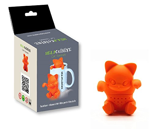 HelpCuisine® teesieb teeei teefilter tea infuser teekugel, teesieb in katzenform, Modernes Design aus hochwertigem Silikon 100% BPA frei, 1St. in der Originalen HelpCuisine-Verpackung