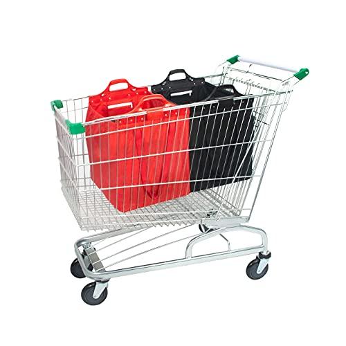 mimiliy Bolsa de Compras Reutilizable, Gran supermercado Shopping Trolley Bolsas, Plegable, Duradero y ecológico Rojo/Azul (Color : Black/Red+Shoulder Belt)